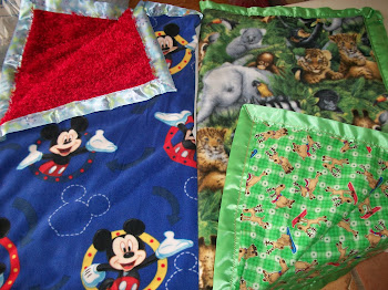 New Blankets for Christmas, Blue for Eden, green for Logan