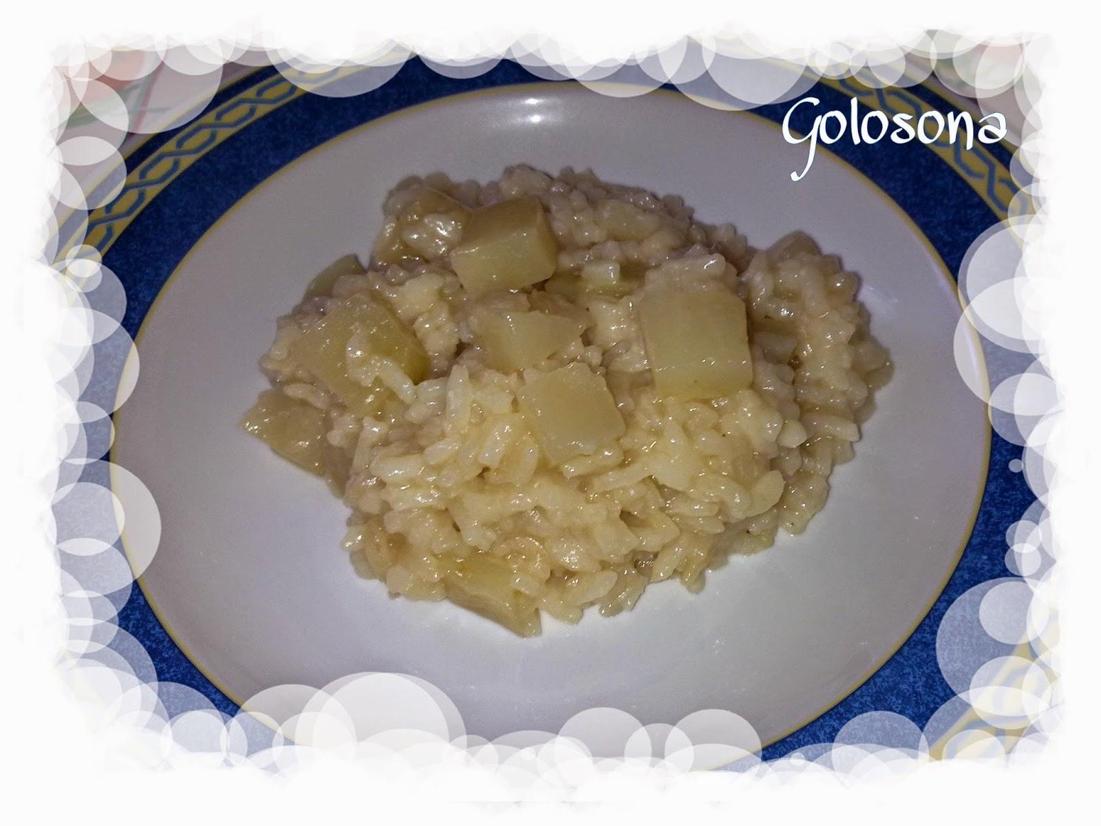 risotto con chayote o patate spinose