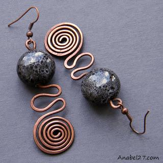 купить медные украшения этно этника серьги сережки анабель