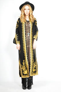 Vintage 1970's bohemian style black maxi coat with gold embroidery.