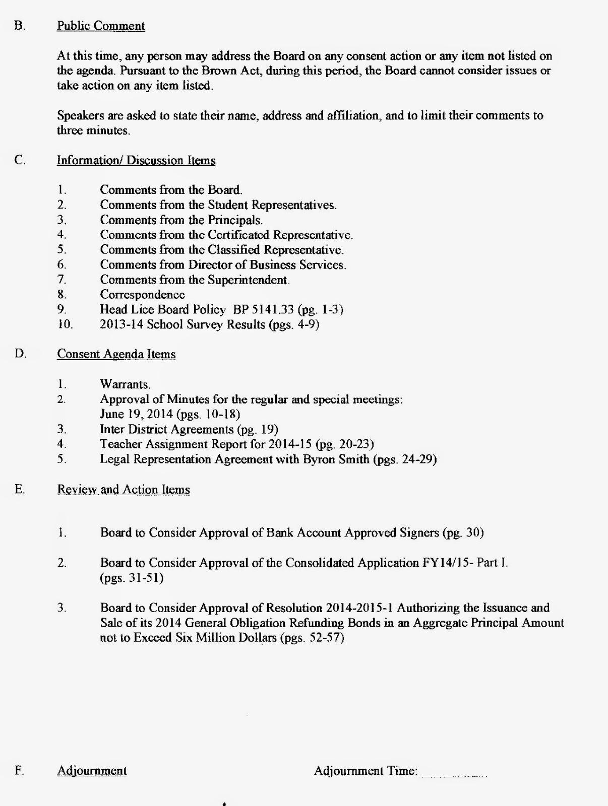 copper gazette mtuesd 8 14 14 board meeting agenda