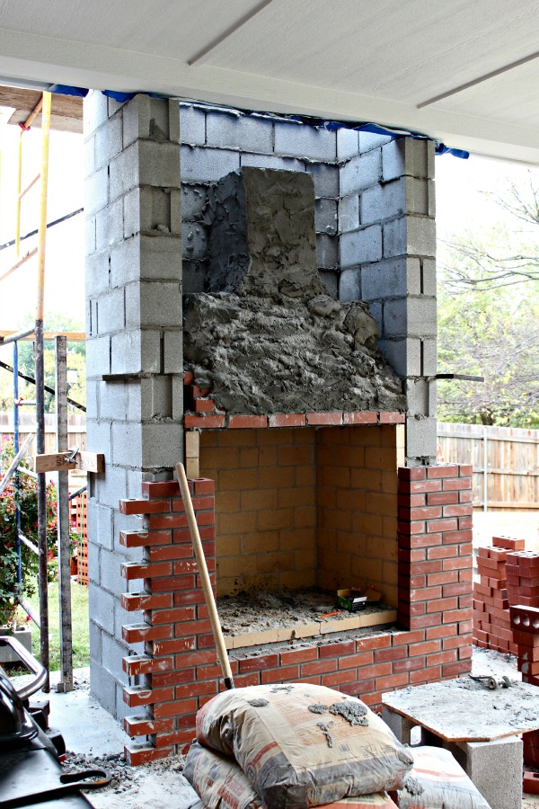 The guys arrived last Monday and began work. It was so interesting to see a fireplace constructed part by part and catch a glimpse of whatu0027s inside that ... & PATIO PROJECT THE FIREPLACE - Dimples and Tangles