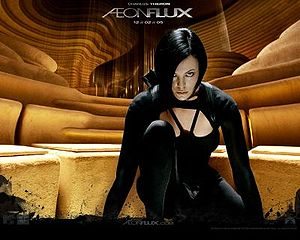 Charlize Theron in a catsuit in Aeon Flux 2005 movieloversreviews.blogspot.com