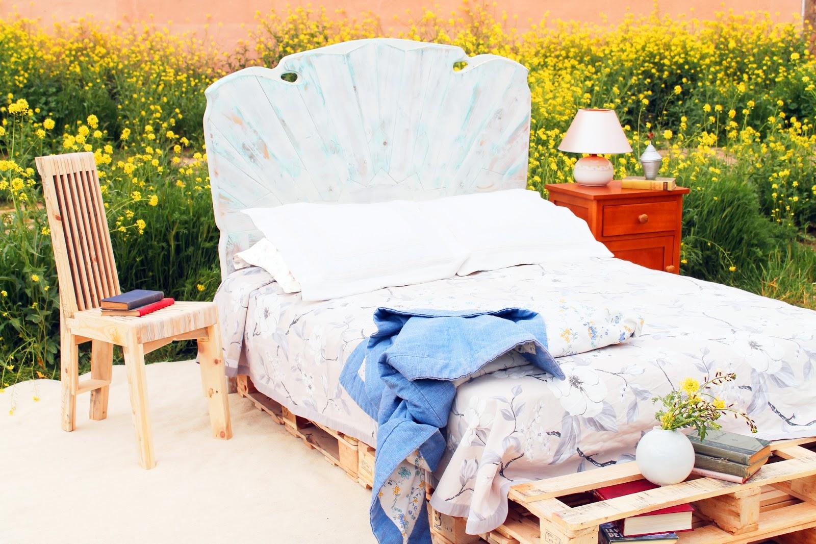 Cabecero de cama con maderas de palets rullo studio - Cabeceros de cama con palets ...