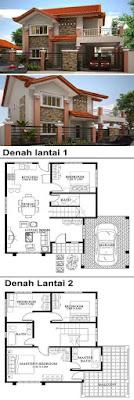 Denah dan desain rumah minimalis 2 lantai type 45