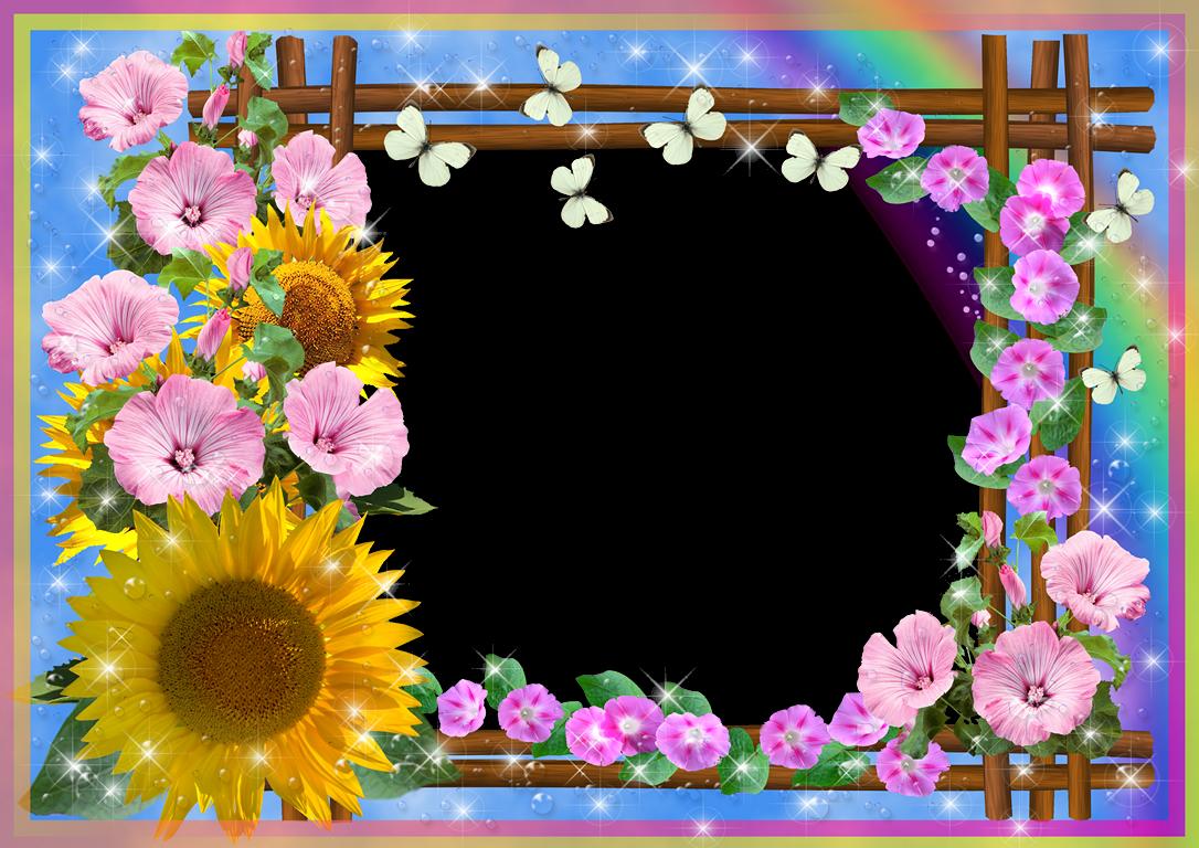 Bordes para fotos con flores de colores. 4 Diseños ~ Marcos Gratis ...