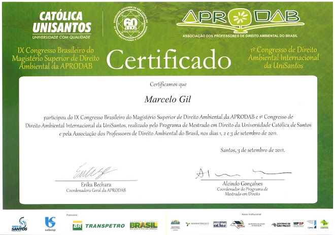 CERTIFICADO CONCEDIDO À MARCELO GIL - I CONGRESSO INTERNACIONAL DE DIREITO AMBIENTAL DA UNISANTOS