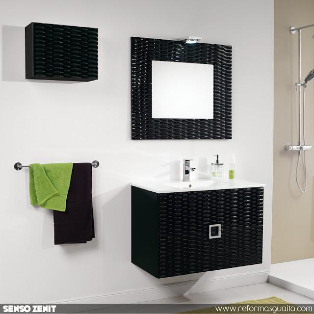 mueble baño lavabo negro alto brillo textura