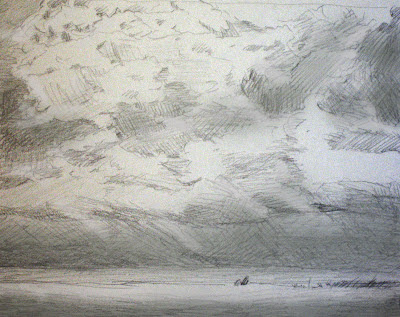 Katherine Kean, Cape Cod, Chatham Beach, drawing, graphite, clouds, atmosphere, mood