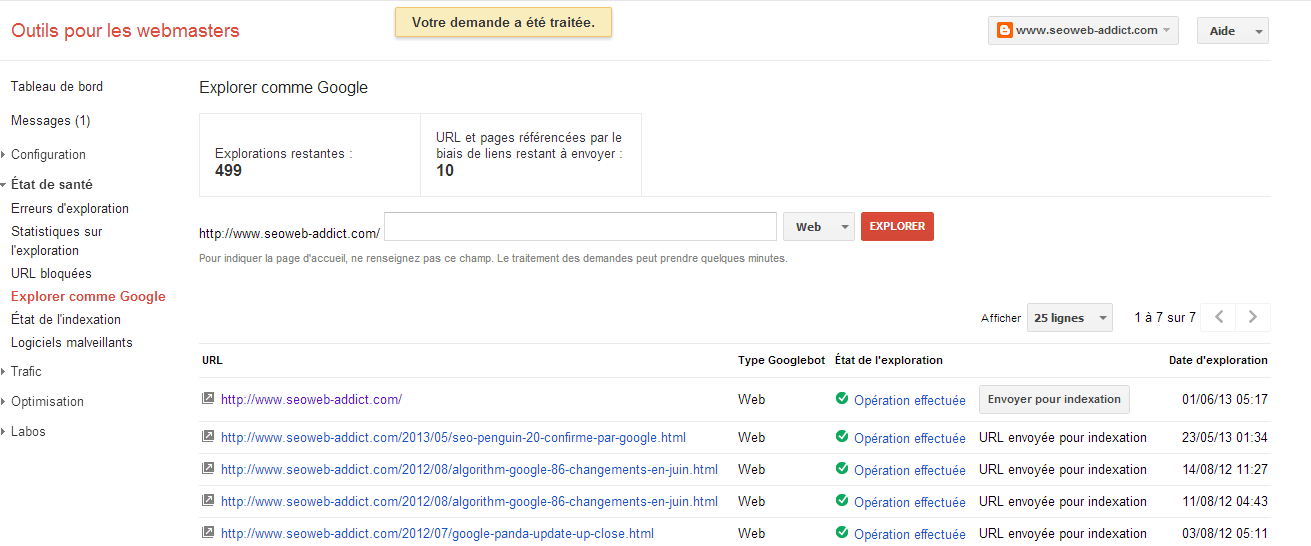 Google webmasters tools exploration
