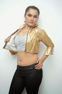 Pooja young and new Telugu Actress in Silver Choli Golden Blouse and Black Low Rise denim