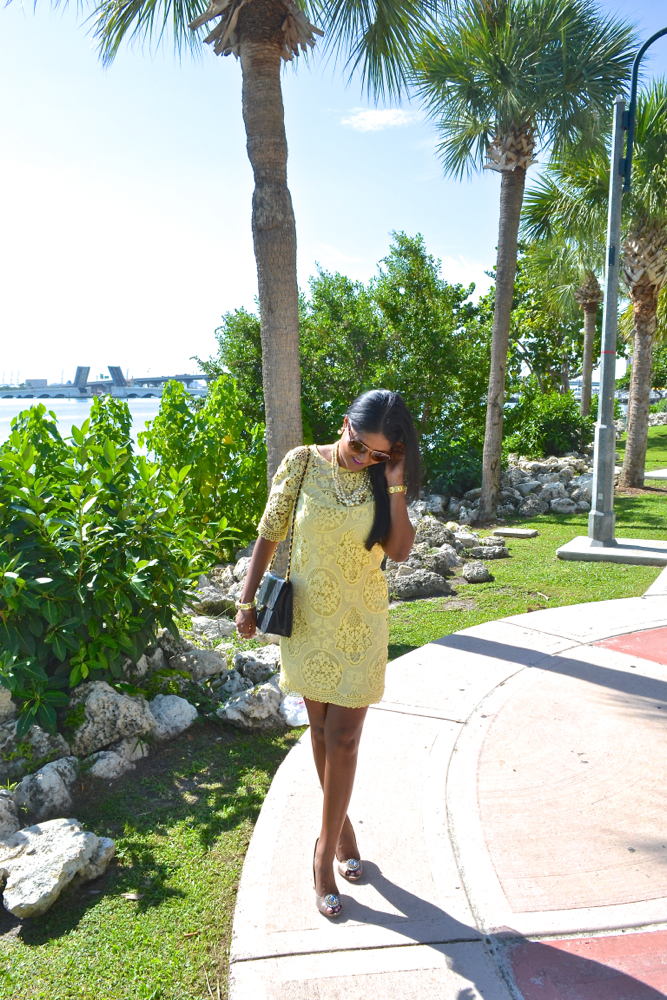 zara lace yellow dress chanel bag astoria in heels