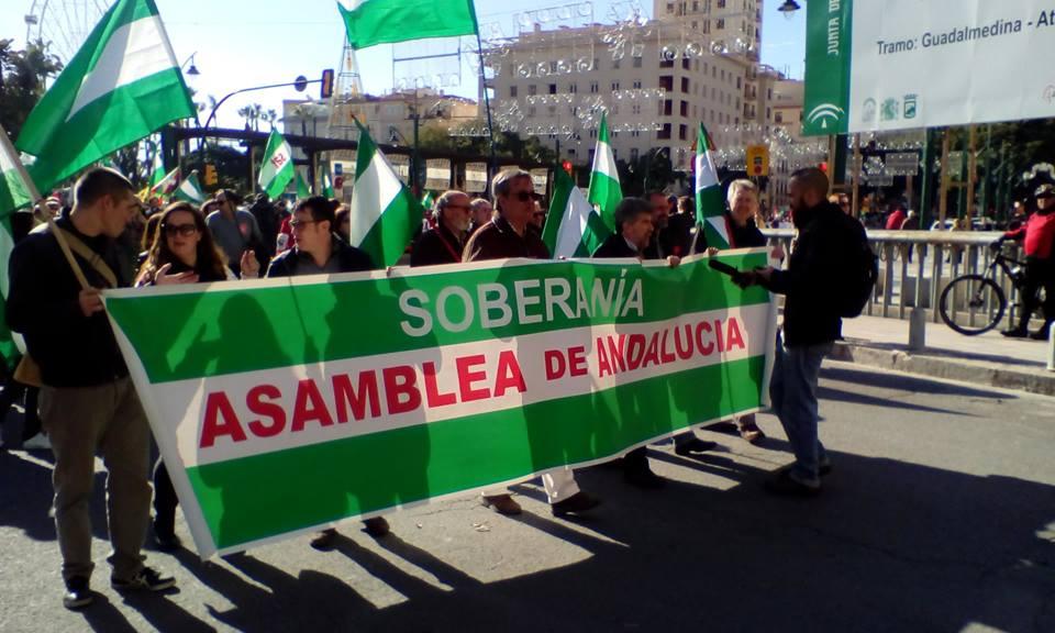 ASAMBLEA DE ANDALUCÍA en la manifestación del 3D en Málaga por la SOBERANÍA PARA ANDALUCÍA