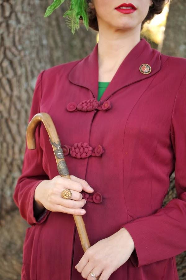 Vintage Fashion Detailing #40s #fashion #vintage #style #jacket #cane