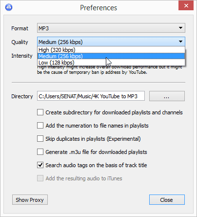 4K YouTube to MP3 preferences