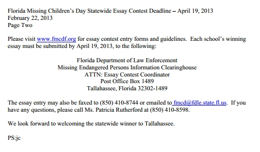 missing children essay Florida missing children's day thursday, december 14, 2017 statewide 5th grade essay contest calling all 5th grade students across the.
