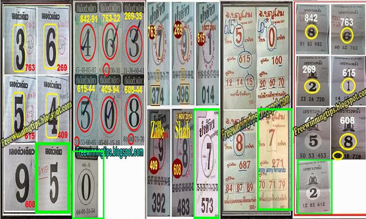 THai Lottery All Single Sure for 16-11-2014 draw