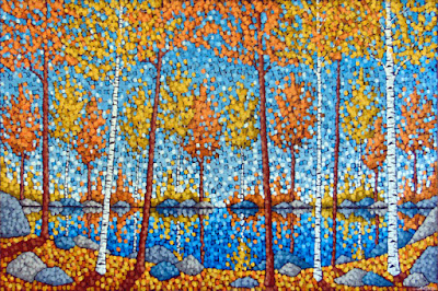 Autumn Lake Reflection acrylic on canvas painting by aaron kloss, siiviis gallery