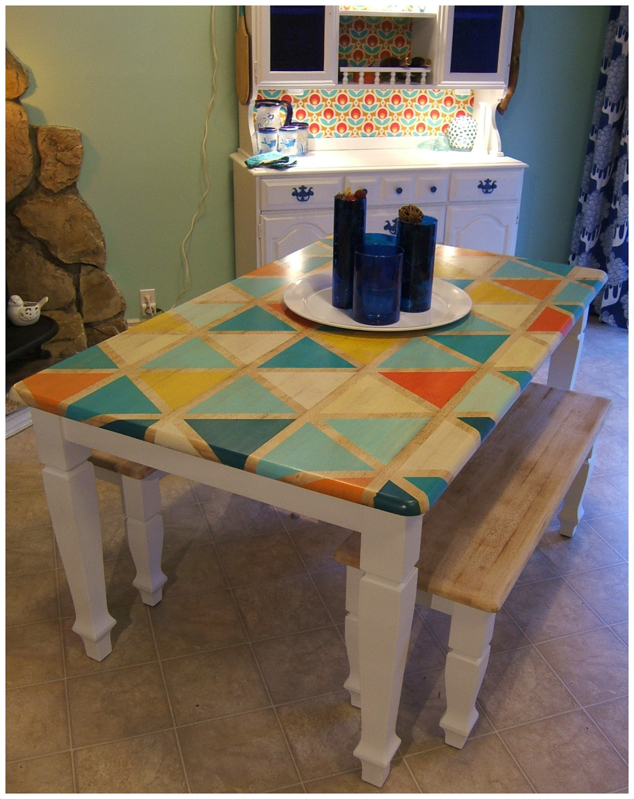 End Table Paint Ideas Nine Red How To Diy Triangle Pattern Kitchen Tabletop