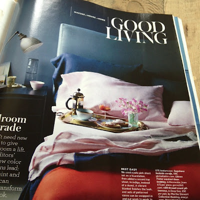 martha stewart living magazine  - pink sheets against navy walls
