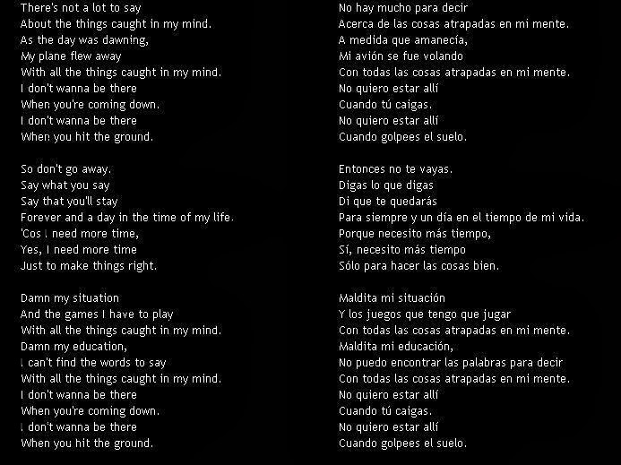 letra de cancion en ingles traducidas al espanol: