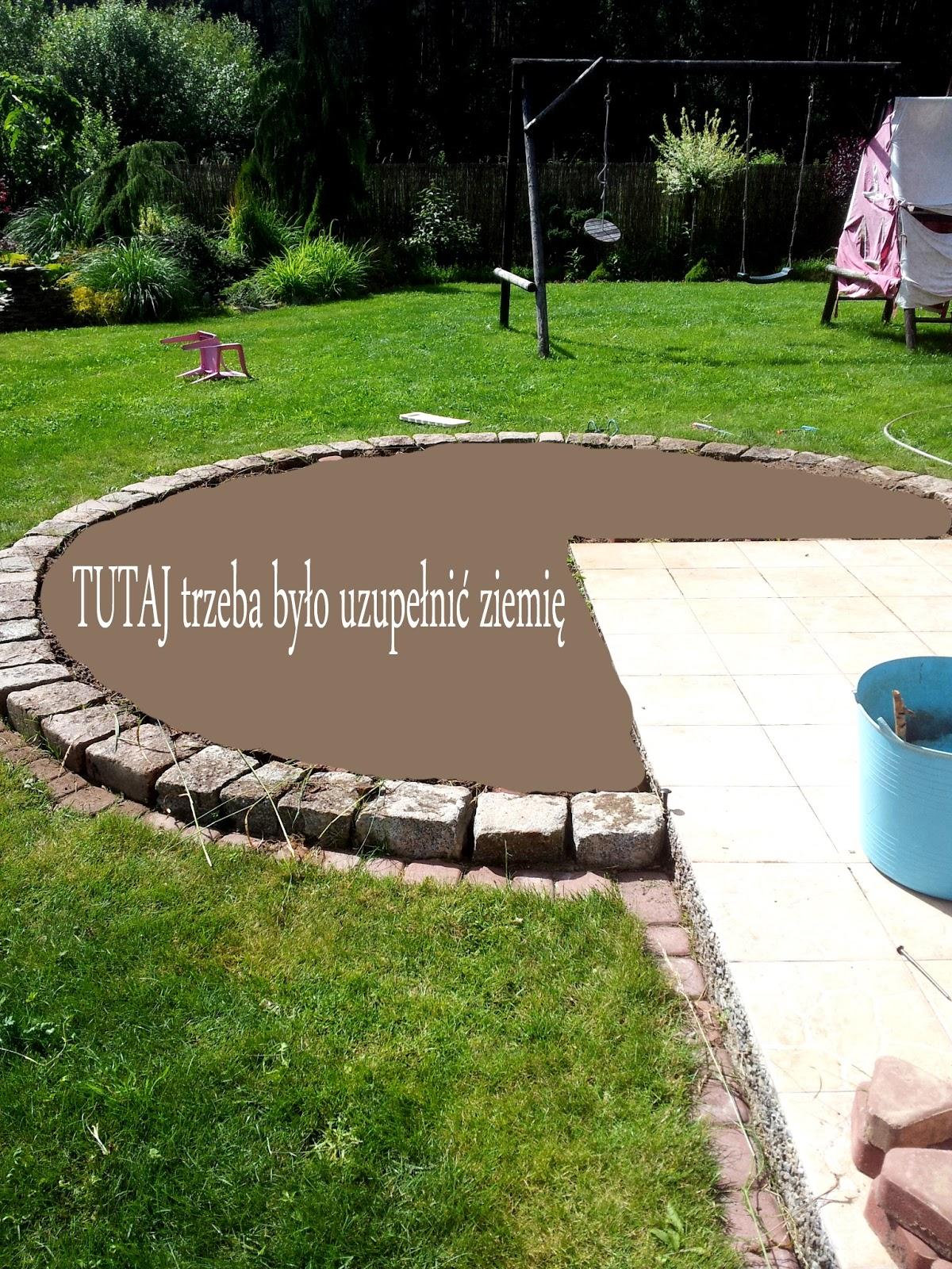 koło w ogrodzie,basen stelażowy,kamienne koło,trawnik,taras i koło,miejsce pod basen