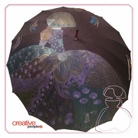 Paraguas pintado a mano por Sylvia Lopez Morant, modelo Menina Flor