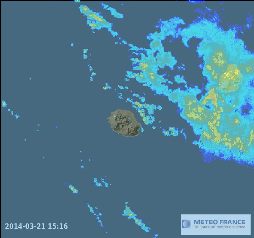 Image radar ile de la Réunion 21 mars 2014