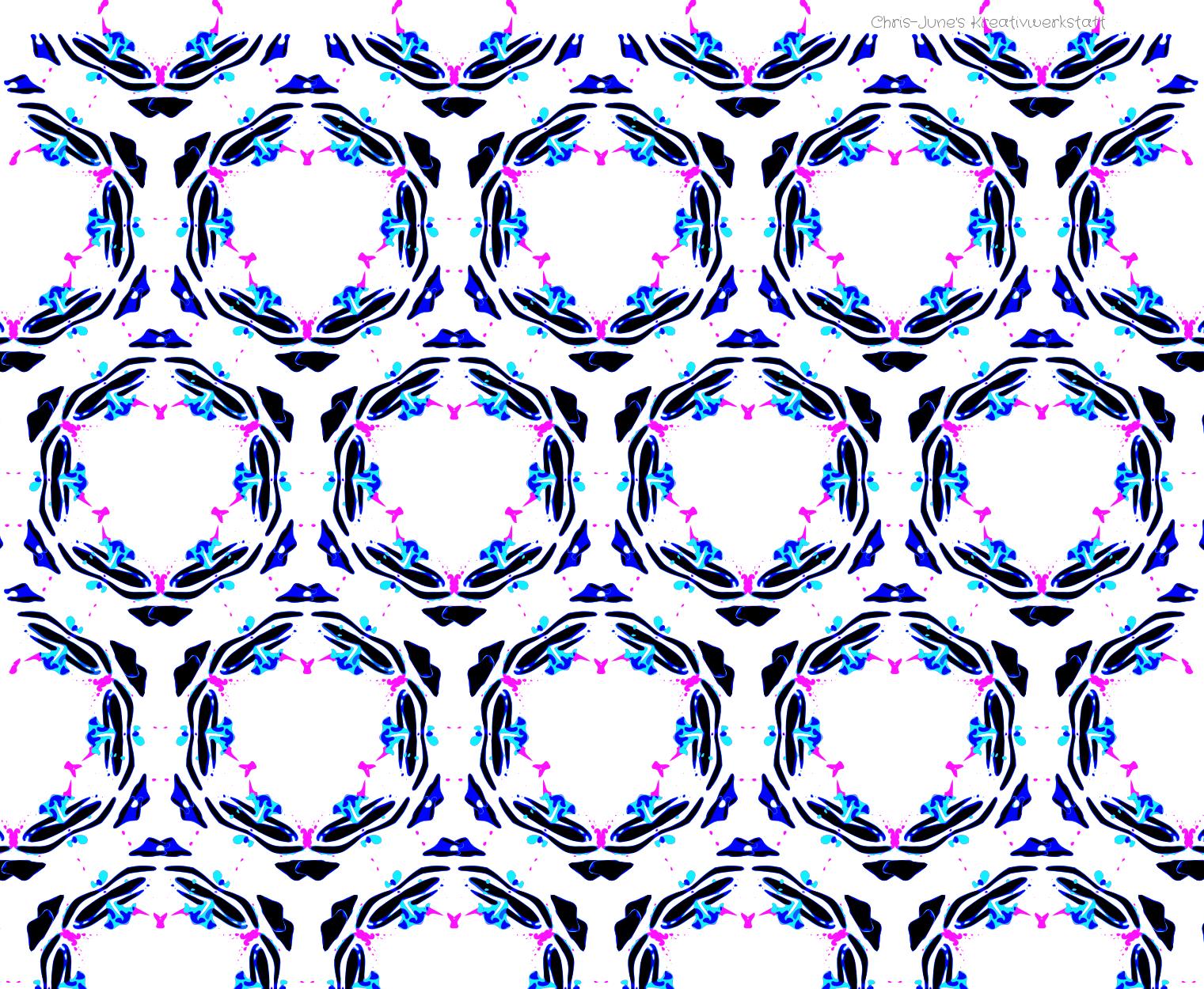 Schmetterlingsmuster schwarz/blau/türkis/pink