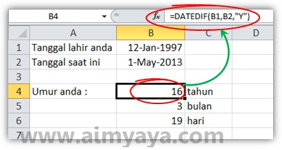 Gambar: Contoh menghitung umur seseorang (dalam tahun, bulan dan hari) di Microsoft Excel