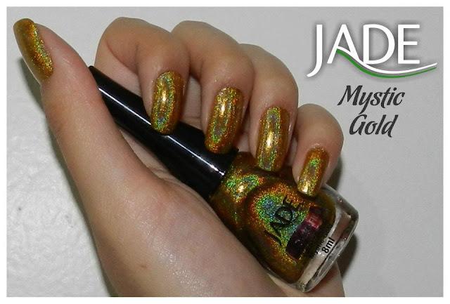 esmalte holográfico jade cosméticos, mystic gold, swatch, único ouro holográfico!
