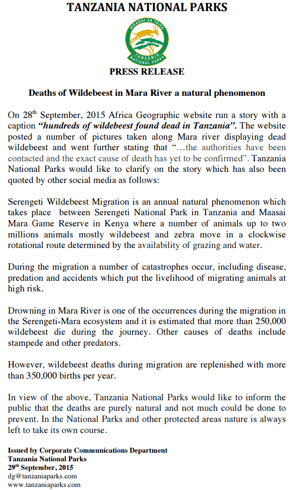 Below is an update from TANAPA in regards to the news alert: Hundreds of wildebeest found dead in Tanzania