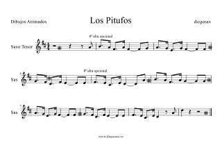Partitura de Saxofón Tenor en Si bemol de Los Pitufos Smurfs Tenor Saxophone sheet music (score). Para tocar con la música original.