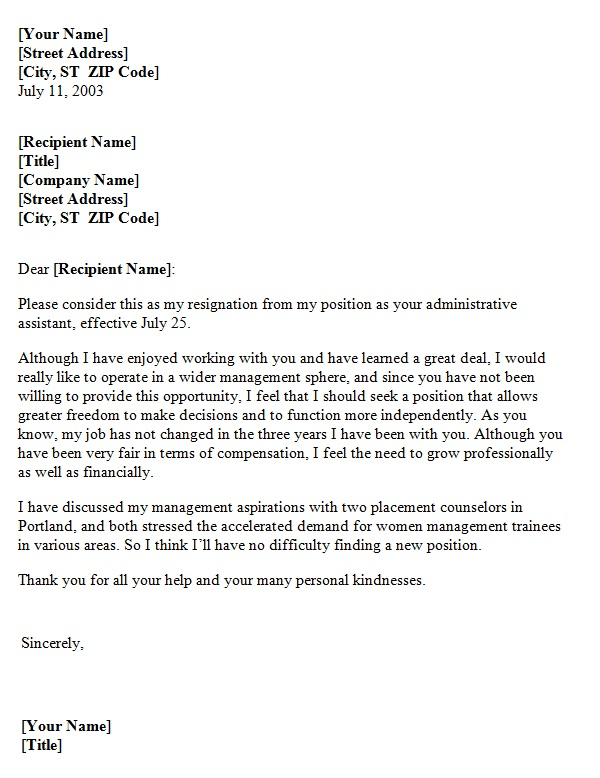 resignation letter due to lack of growth opportunity template sample