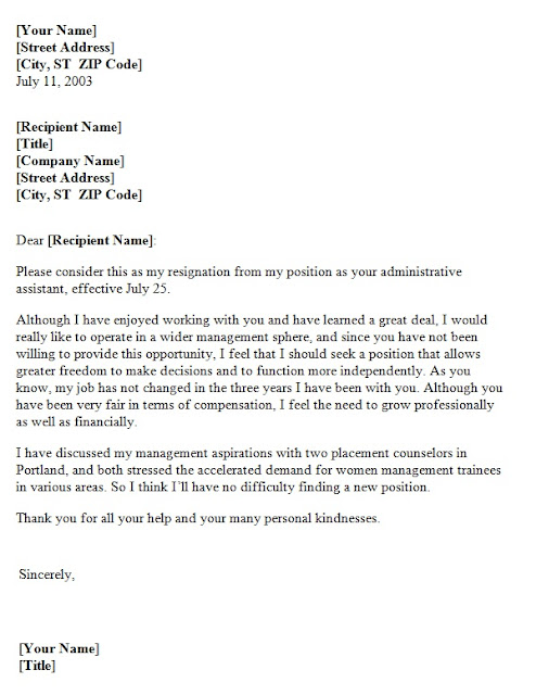 Resignation Letter due to lack of growth opportunity ~ Template Sample