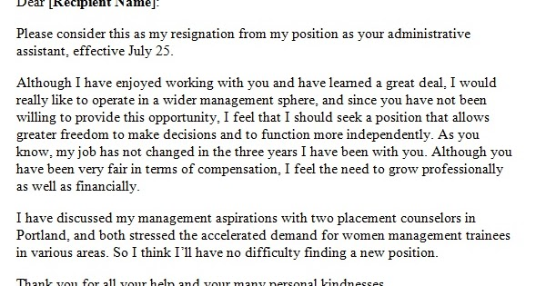 Resignation Letter Due To Lack Of Growth Opportunity