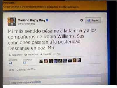 Twitter  de Rajoy sobre la muerte de Robin Williams