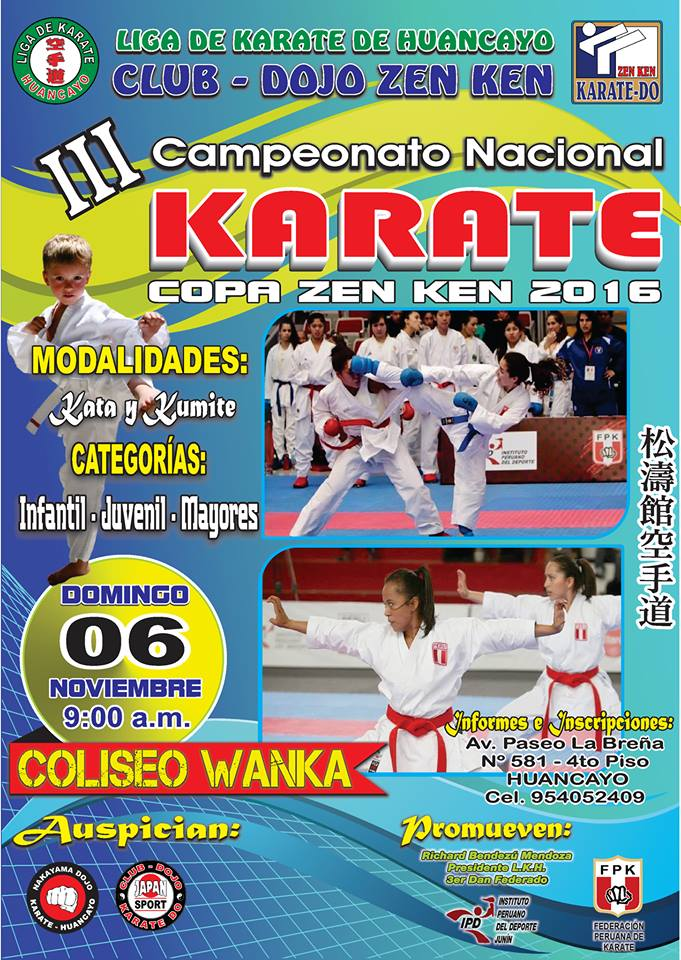 "III CAMPEONATO NACIONAL DE KARATE ""Copa Zen Ken 2016"" Huancayo-Perù"