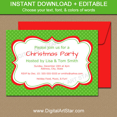 christmas invite in green with red accents