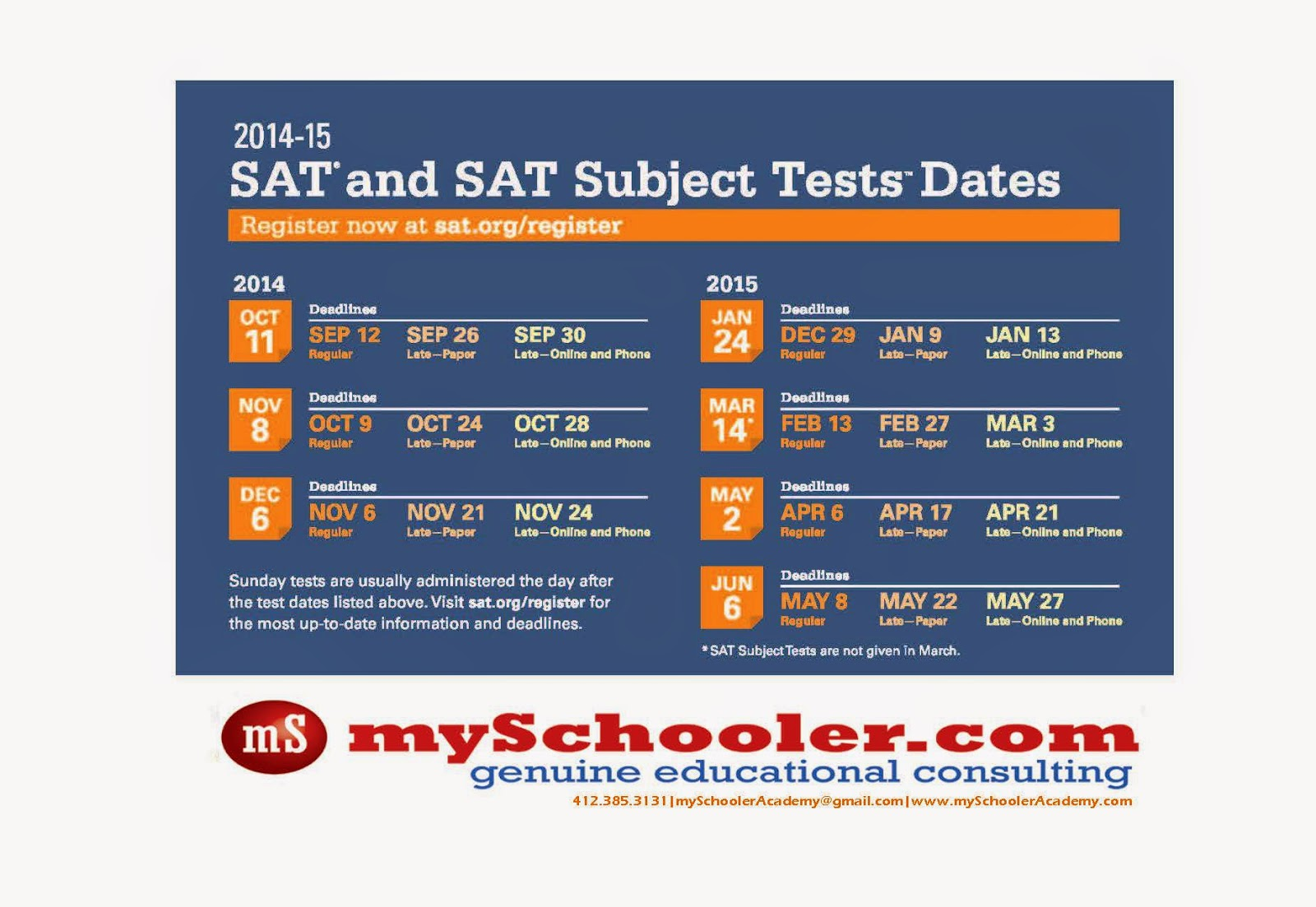 sat test dates 2015   Sanli Education HK #1 SAT SSAT ACT Debate