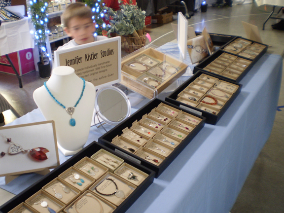 my jewelry sales table at Holiday Shopping Extravaganza sales event November 3 2012