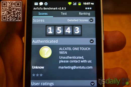 alcatel one touch blaze 985n nenamark review
