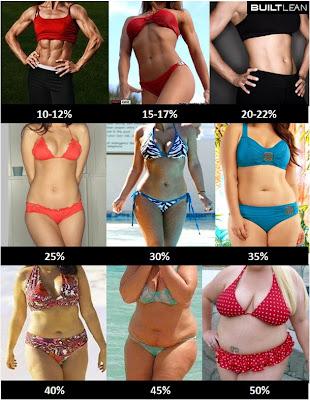 体脂肪率ごとの女性のカラダ画像(10-12%; 15-17%; 20-22%; 25%; 30%; 35%; 40%; 45%; 50%)