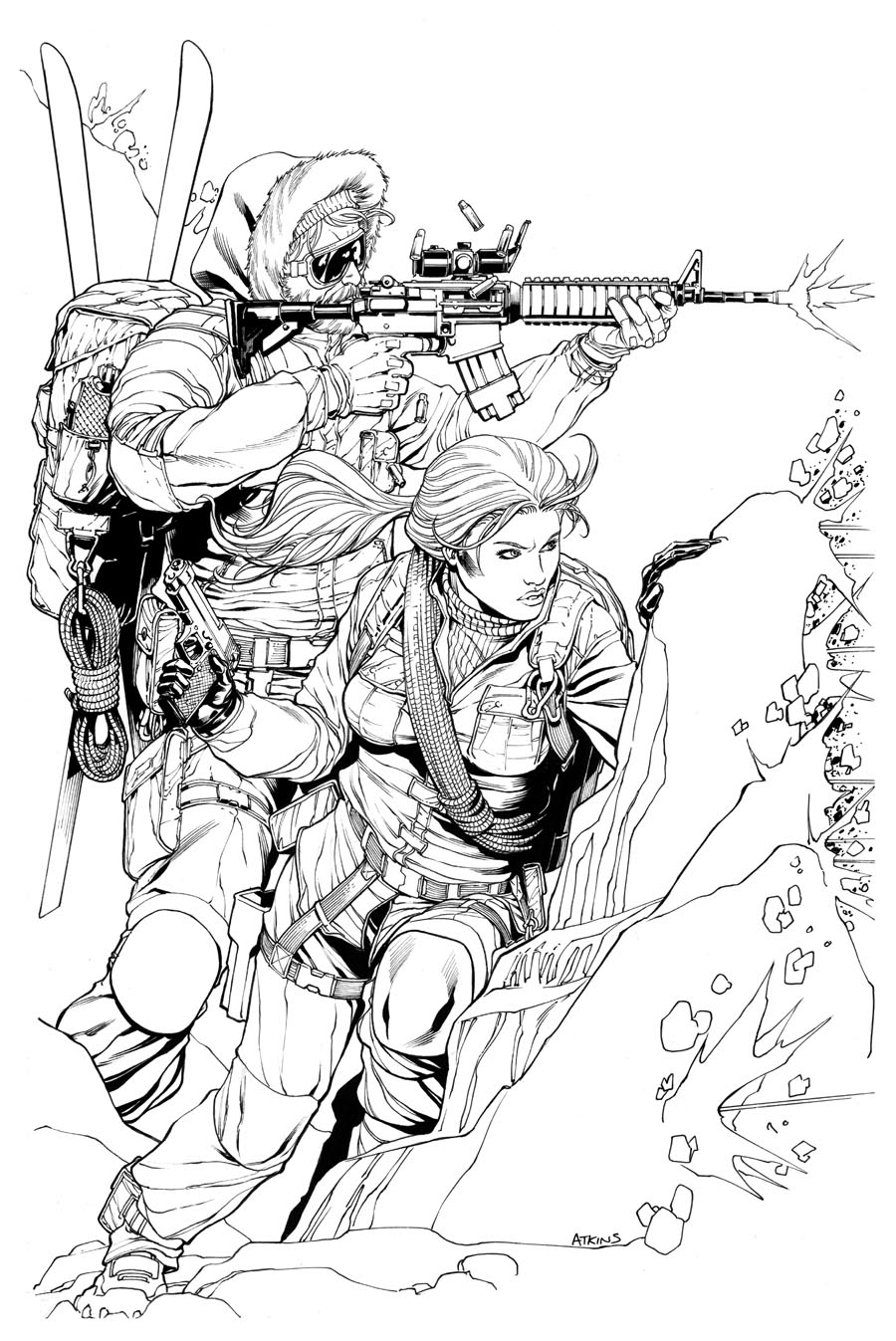 Robert atkins art snow job and scarlett in a tight spot for Gi joe coloring pages