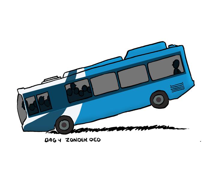 Dag 4 zonder deo, deelnemen an openbaar vervoer wordt problematisch