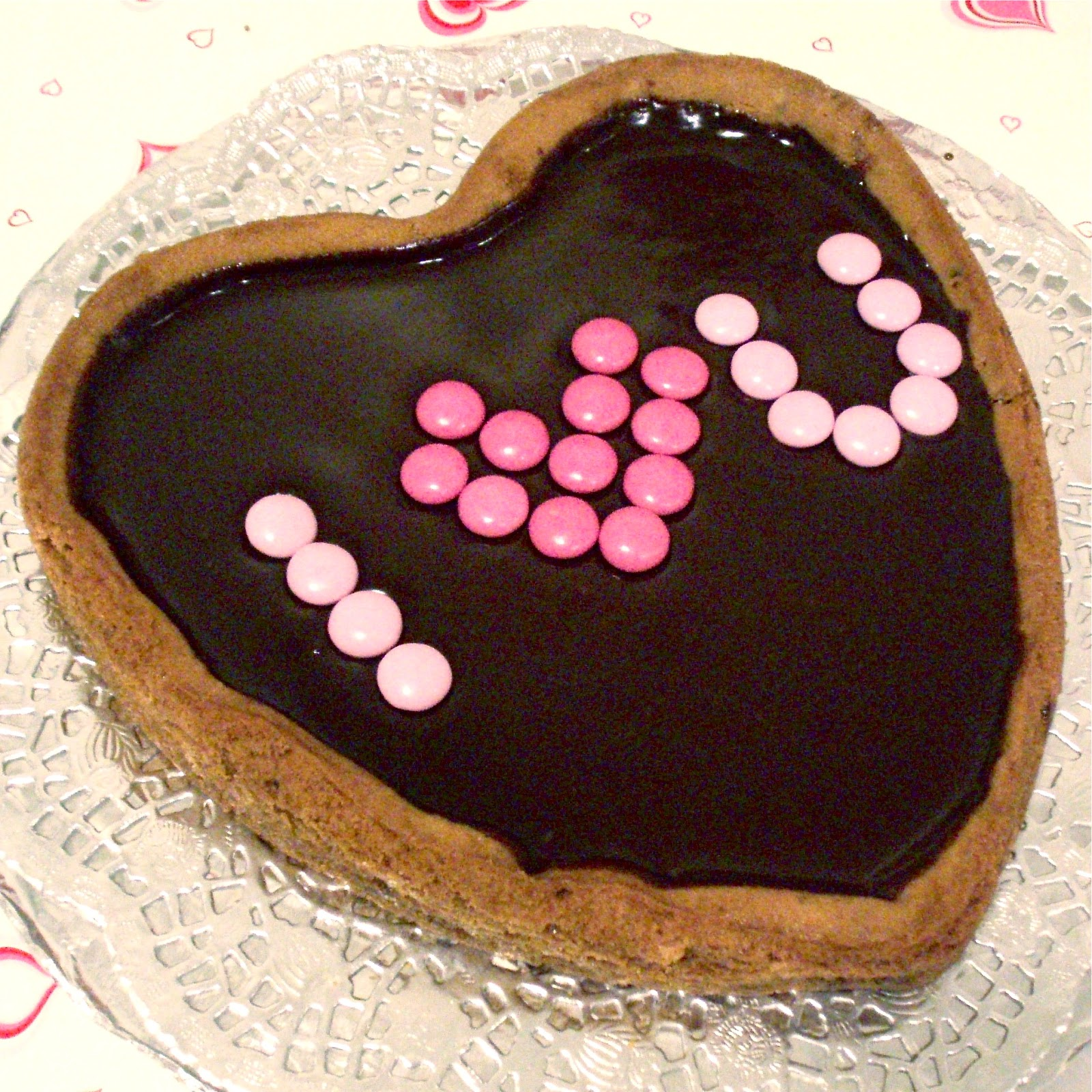 Giant Heart-Shaped Cookie Cake Topped with Fudgy Chocolate ...