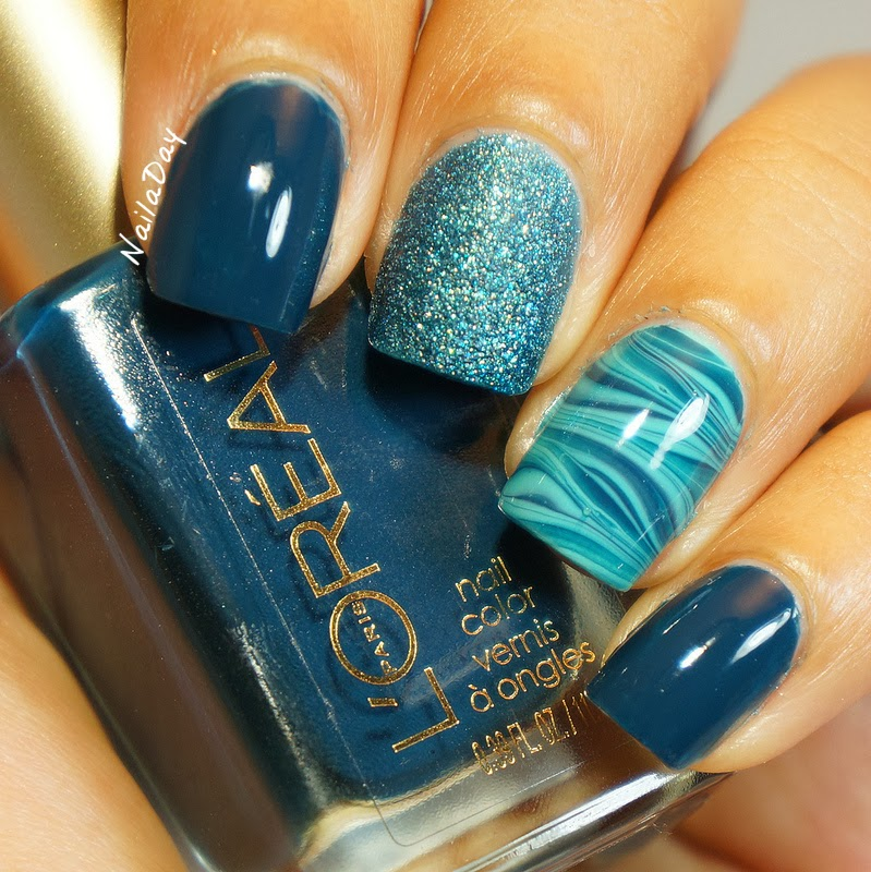 Nail a Day: L\'Oreal Rainy Piccadilly watermarble skittlette