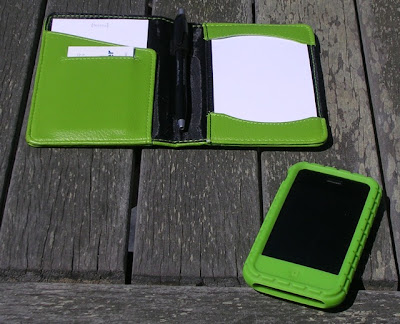 small note-taking pad with iPhone