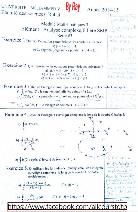 Analyse Complexe série Corrigés SMP 3 FSR