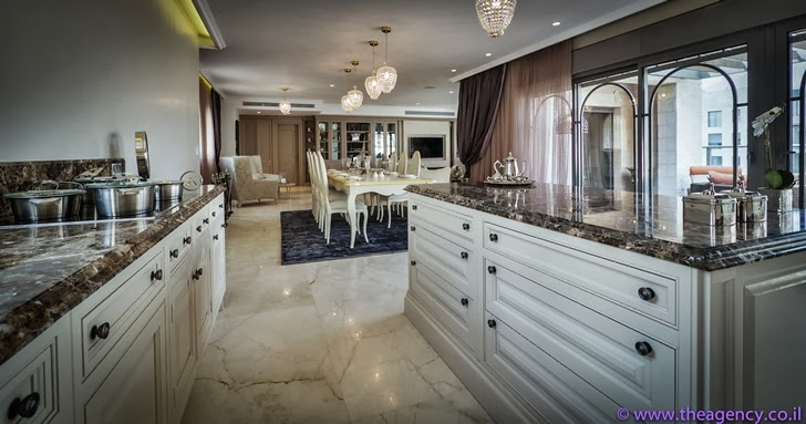 "Kitchen furniture in an Elegant ""Jerusalem Dreams"" Penthouse Apartment"